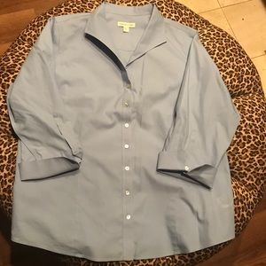 Coldwater Creek 2X No Iron Blue Shirt